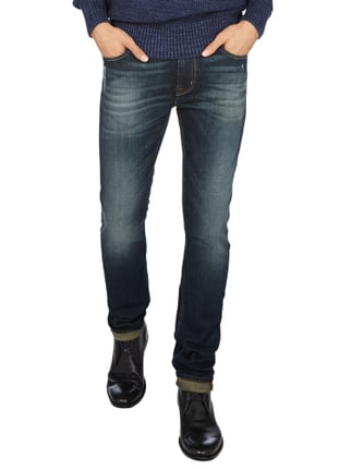 7 for all mankind Used Look Straight Fit 5-Pocket-Jeans Dunkelblau meliert - 1