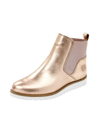 Chelsea Boots aus Leder in Metallicoptik Orange - 1