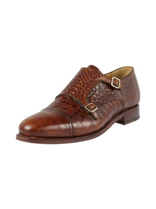 Double Monk Straps in Krokooptik Braun - 1