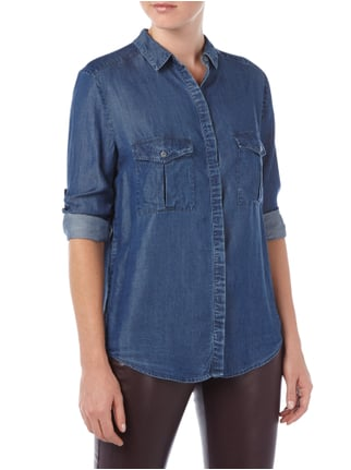 Boss Orange Bluse in Jeansoptik mit regulierbaren Ärmeln Marineblau - 1