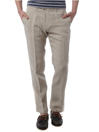 Brax Regular Fit 5-Pocket-Hose aus Leinen Sand meliert - 1
