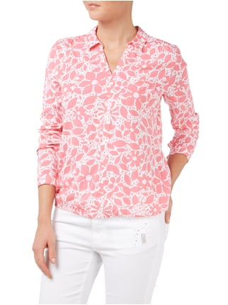 comma Casual Identity Blusenshirt mit floralem Muster Pink - 1