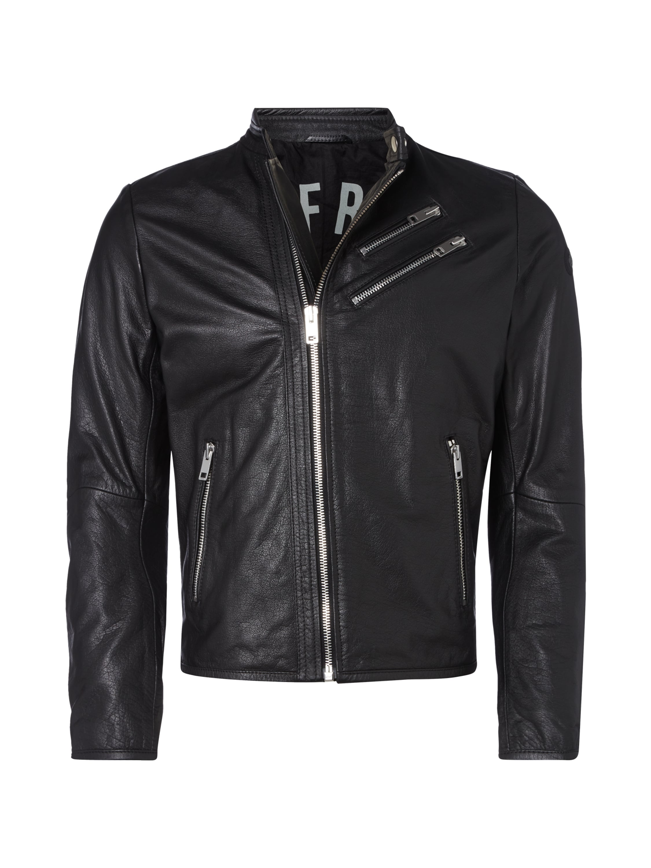 diesel lederjacke im biker look in grau schwarz online. Black Bedroom Furniture Sets. Home Design Ideas