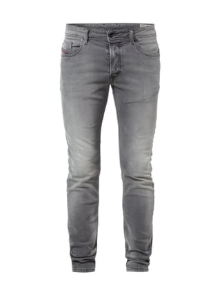 Stone Washed Slim-Skinny Fit 5-Pocket Jeans Grau / Schwarz - 1