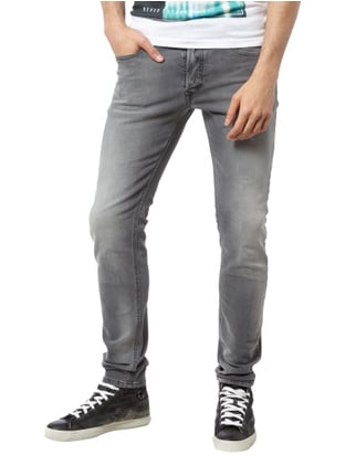 Diesel Stone Washed Slim-Skinny Fit 5-Pocket Jeans Mittelgrau - 1