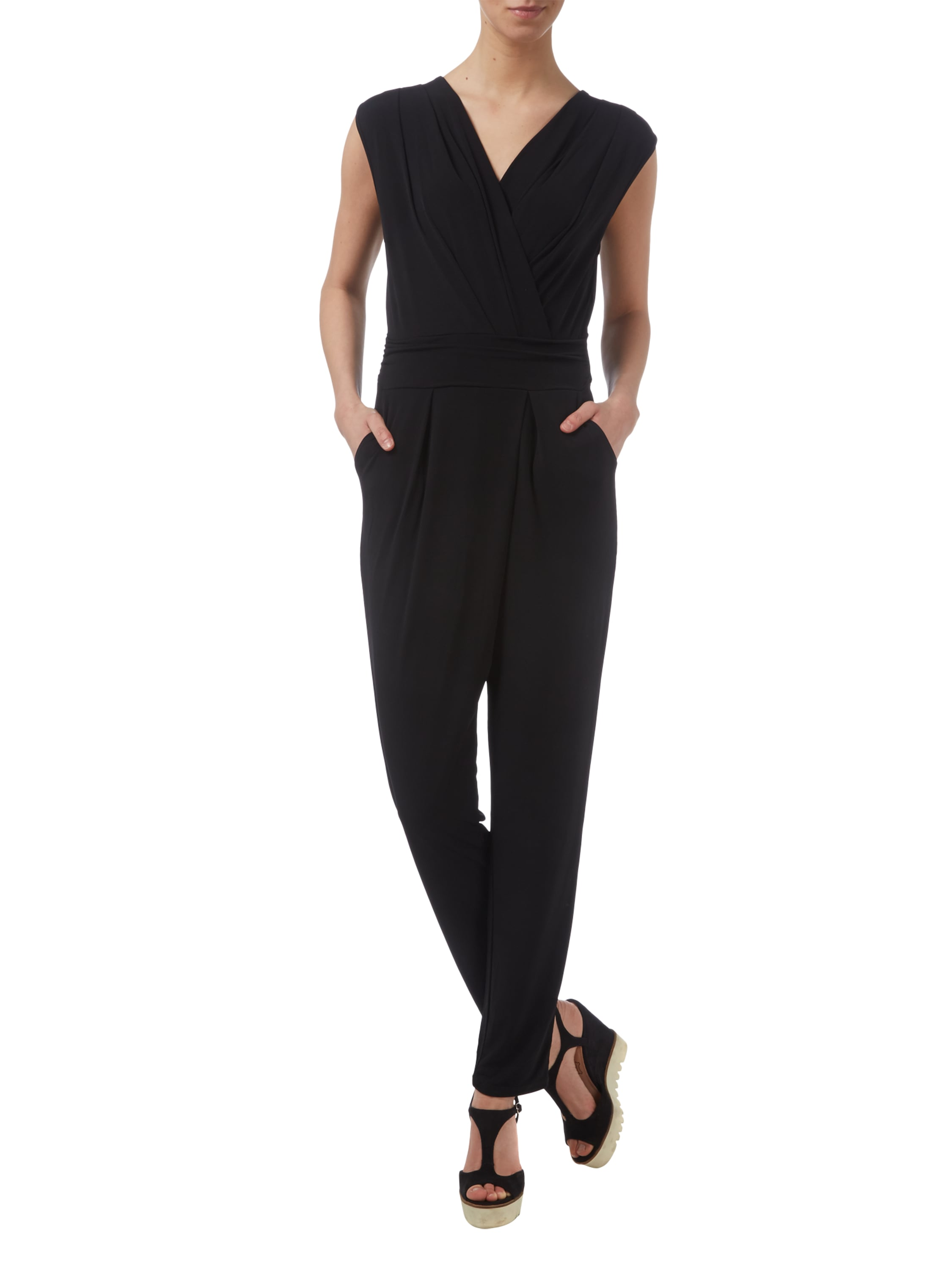 esprit collection jumpsuit aus jersey in wickeloptik in grau schwarz online kaufen 9444094. Black Bedroom Furniture Sets. Home Design Ideas