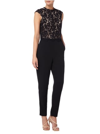 Esprit Collection Jumpsuit mit floraler Lochspitze in Grau / Schwarz - 1