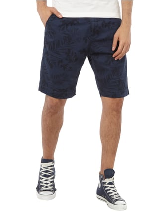 Esprit Tapered Fit Shorts mit Allover-Muster Marineblau - 1
