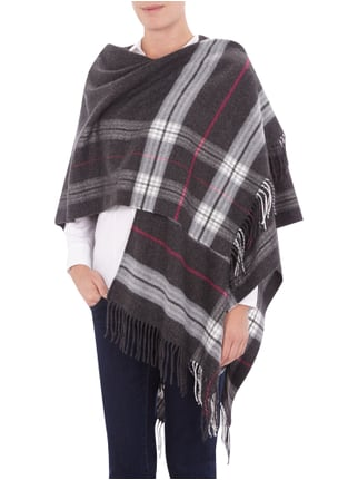Fraas Poncho mit Karomuster Anthrazit meliert - 1