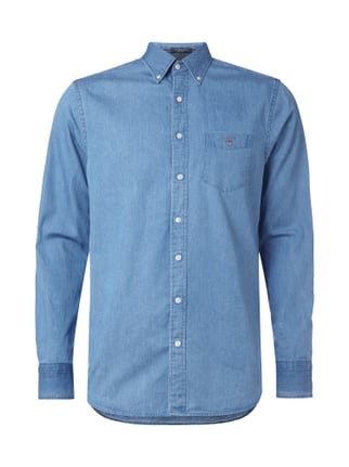 Regular Fit Freizeithemd aus Denim Blau / Türkis - 1