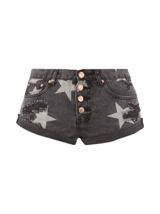 5-Pocket-Jeansshorts im Destroyed Look Grau / Schwarz - 1