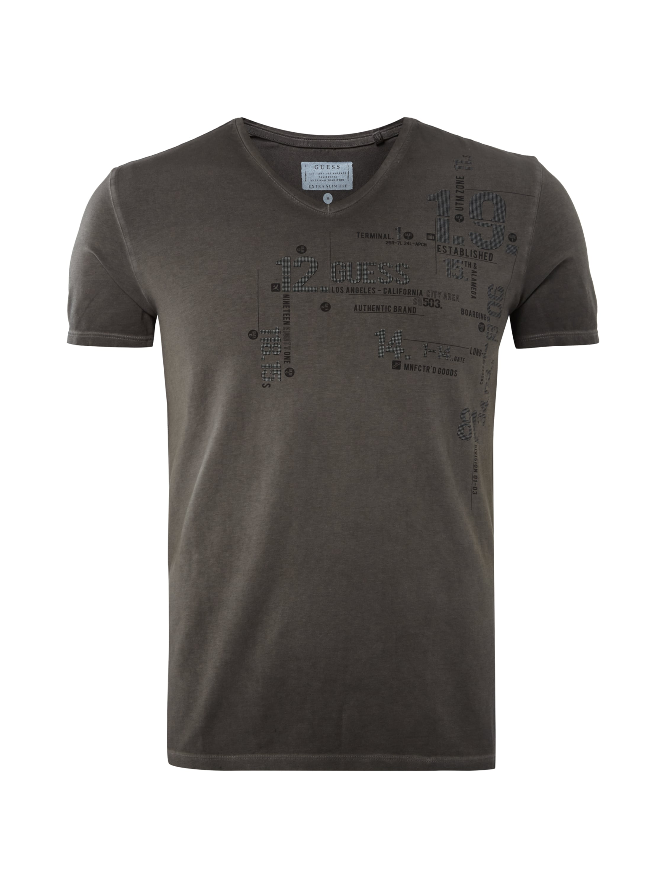 Guess extra slim fit t shirt mit logo print in grau for Shirts with logo print