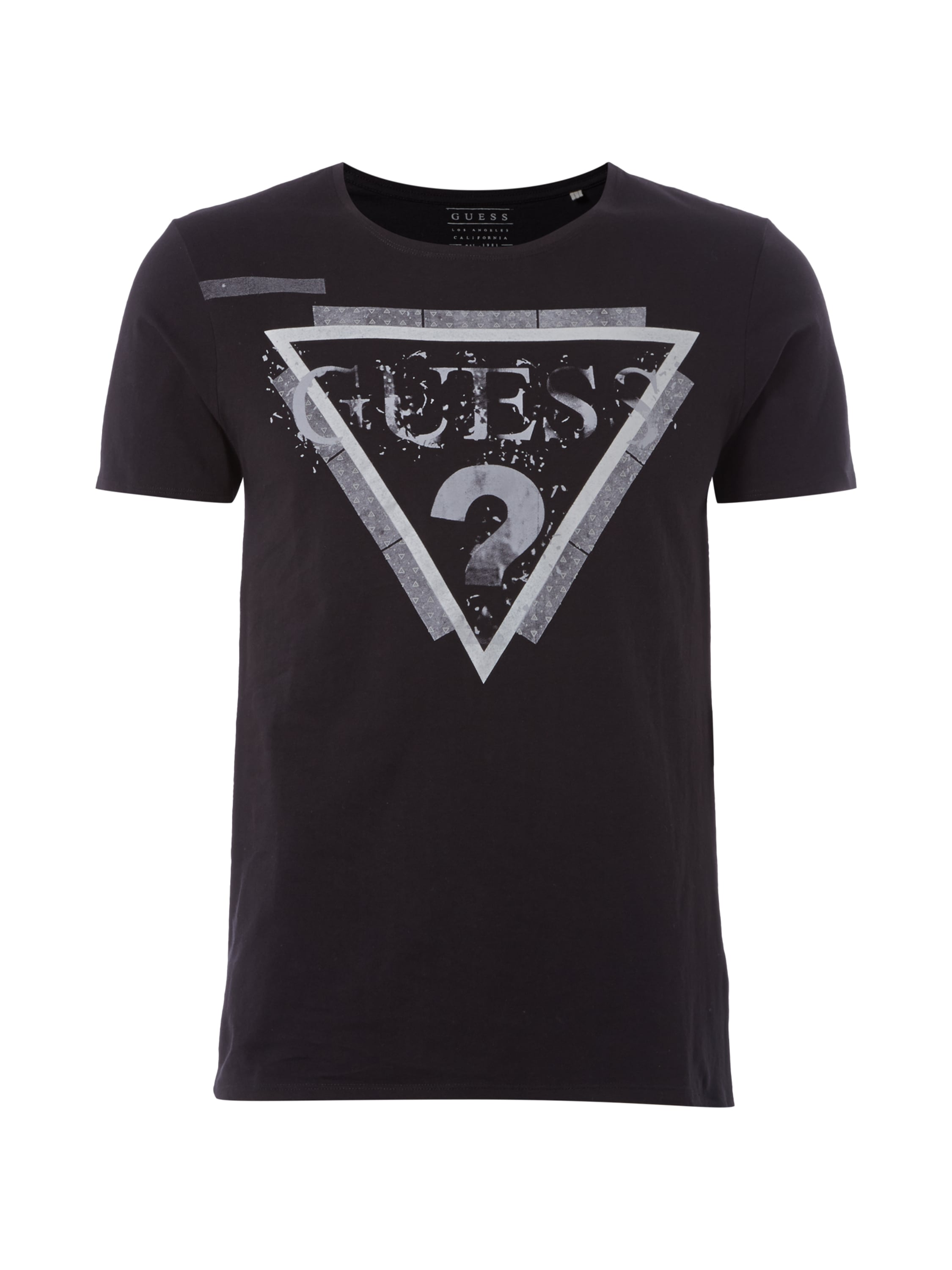 Guess t shirt mit logo print in grau schwarz online for Shirts with logo print