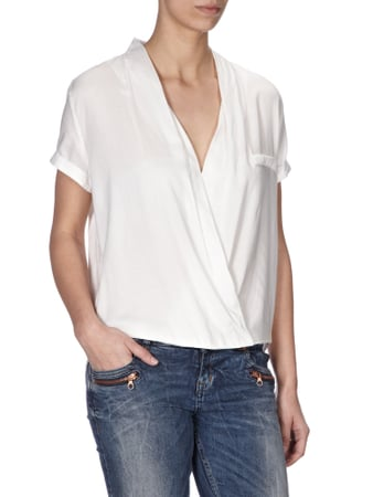 Jake*s Casual Oversize-Bluse in Wickel-Optik Offwhite - 1