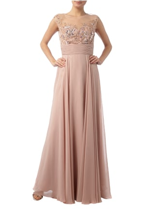 Jora Collection Abendkleid mit floralem Muster aus Zierperlen in Rosé - 1
