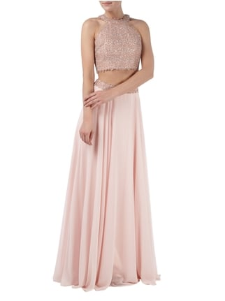 Luxuar Two Piece Abendkleid mit Ziersteinbesatz in Rosé - 1
