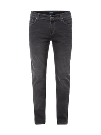 Slim Fit Jeans im Stone Washed-Look Grau / Schwarz - 1