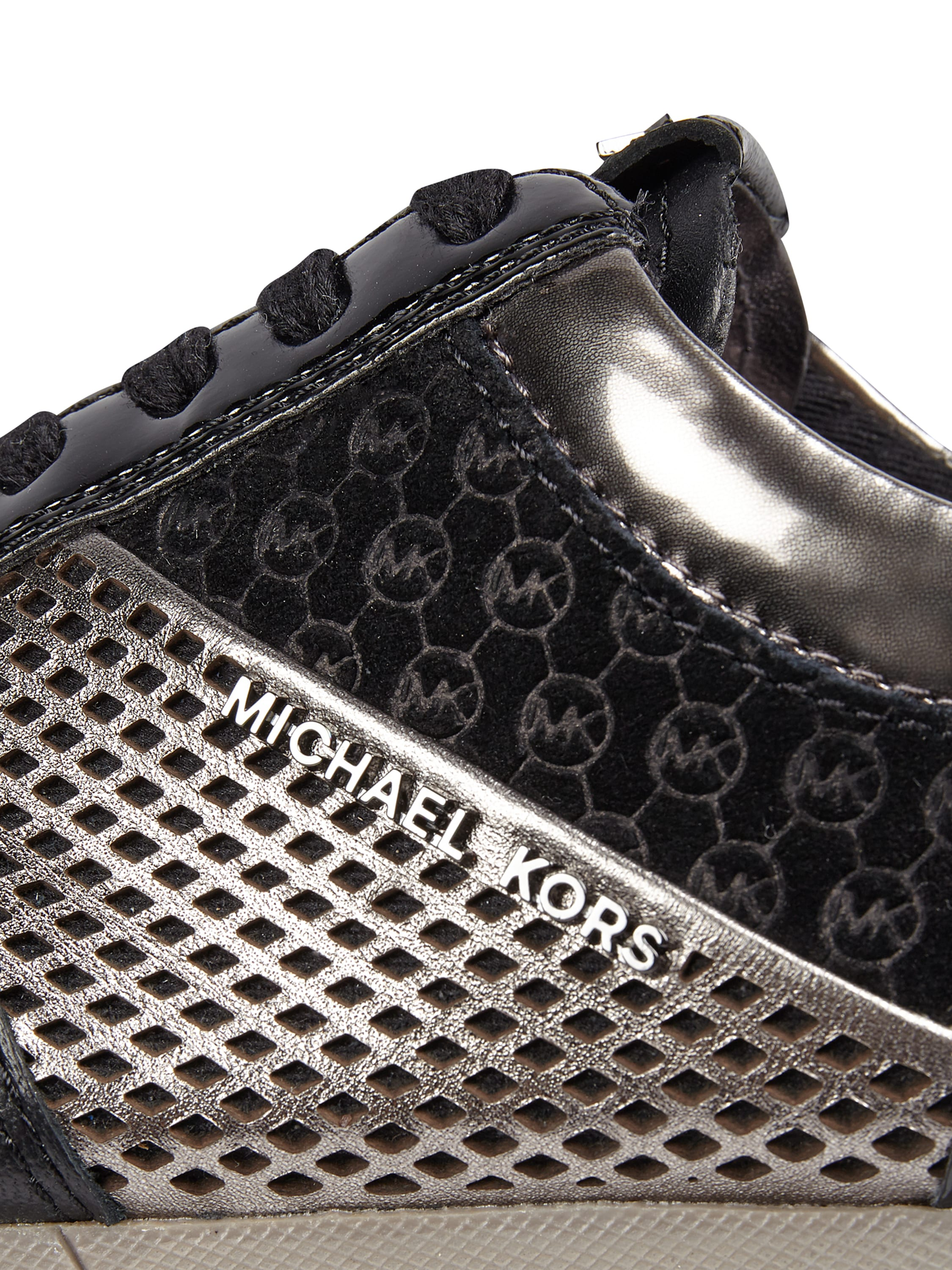 michael michael kors sneaker aus echtem leder mit kontrastbesatz in grau schwarz online. Black Bedroom Furniture Sets. Home Design Ideas