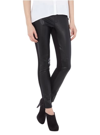 Oui Leggings in Leder-Optik Schwarz - 1