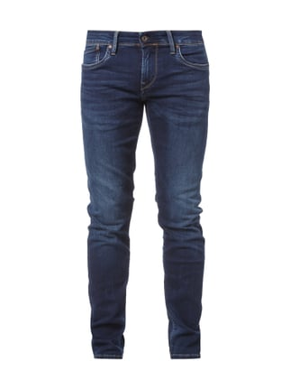 Stone Washed Low Waist Jeans im Slim Fit Blau / Türkis - 1