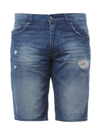 5-Pocket-Jeansbermudas im Destroyed Look Blau / Türkis - 1