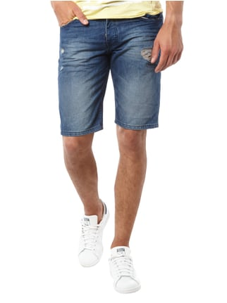 REVIEW 5-Pocket-Jeansbermudas im Destroyed Look Dunkelblau - 1