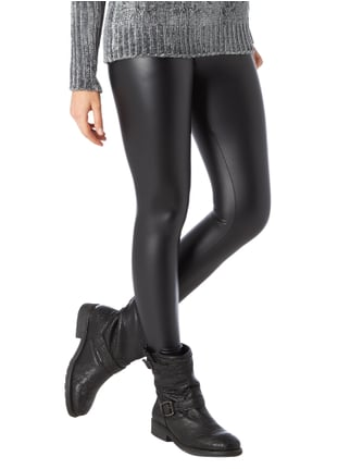 REVIEW Leggings in Lederoptik Schwarz - 1