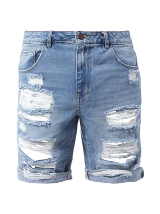 Sami Slimani 5-Pocket-Bermudas im Destroyed Look Blau / Türkis - 1