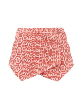 Shorts in Wickeloptik mit Ethno-Muster Orange - 1