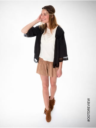 REVIEW Shorts mit Lochmuster Camel - 1