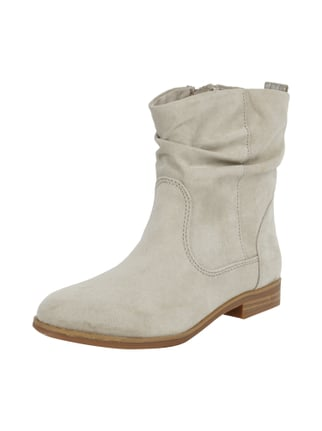 Booties in Velourslederoptik Grau / Schwarz - 1