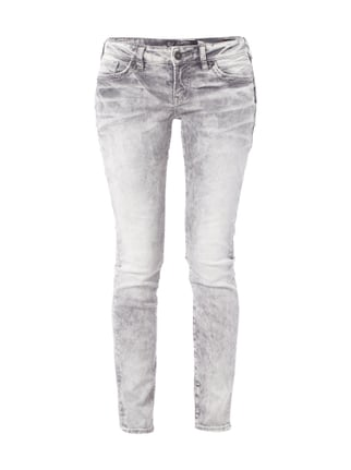 Acid Washed Skinny Fit Jeans Grau / Schwarz - 1