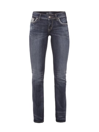 Double Stone Washed Straight Cut Jeans Blau / Türkis - 1