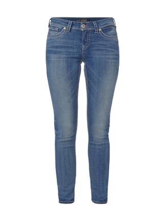 Super Skinny Fit Jeans - Stone Washed Blau / Türkis - 1