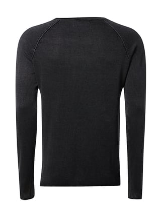 !Solid Pullover im Washed Out-Look Schwarz - 1