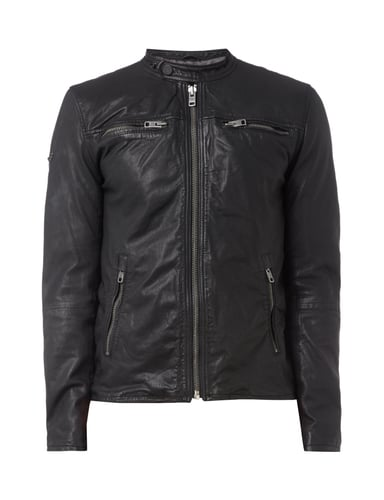 superdry lederjacke im biker look in grau schwarz online. Black Bedroom Furniture Sets. Home Design Ideas