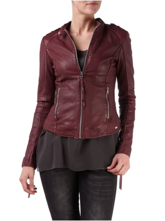 Tigha Lederjacke im Biker-Look Bordeaux Rot - 1