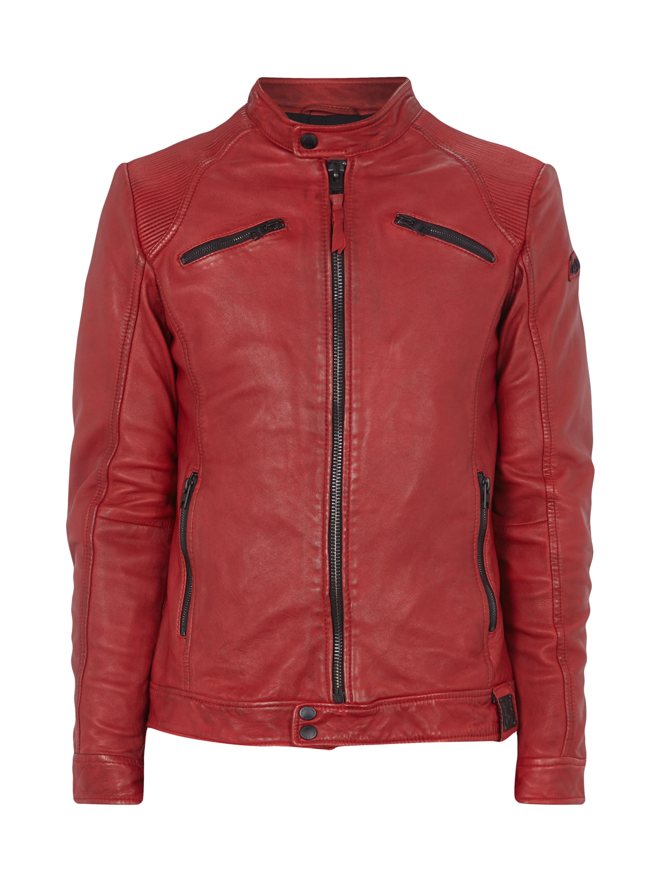 tigha lederjacke mit ellenbogen patches in rot online kaufen 9232375 fashion id online shop. Black Bedroom Furniture Sets. Home Design Ideas
