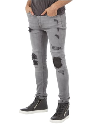 Tigha Slim Fit Jeans im Destroyed Look Mittelgrau meliert - 1
