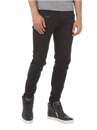Tigha Slim Fit Jeans im Used Look Schwarz - 1
