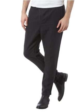 Tigha Tailored Fit Leinenhose Schwarz - 1
