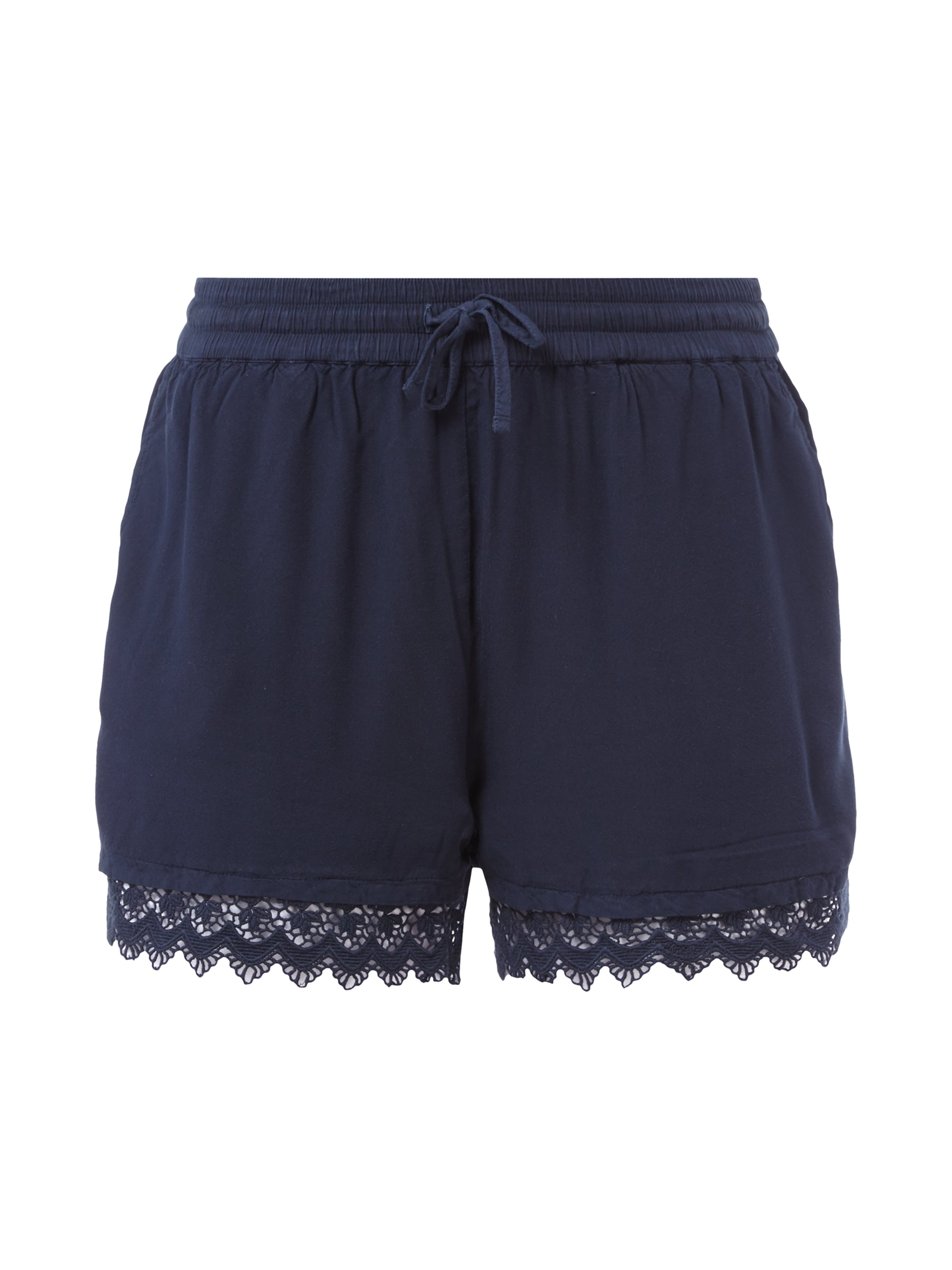tom tailor denim shorts mit h kelspitze in blau t rkis. Black Bedroom Furniture Sets. Home Design Ideas