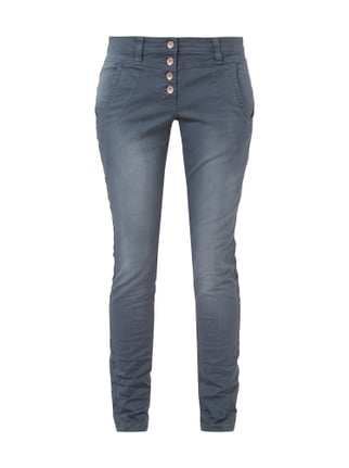 Relaxed Tapered Fit Jeans mit Knopfleiste Blau / Türkis - 1