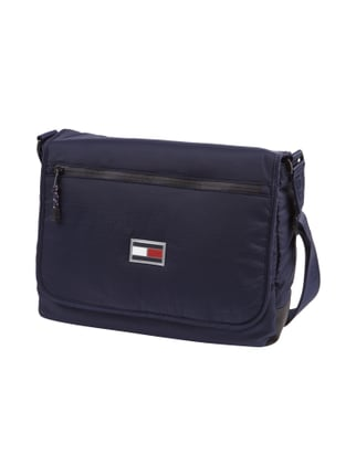 Messenger Bag mit Logo-Applikation Blau / Türkis - 1