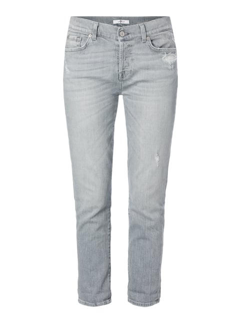 Boyfriend Fit Jeans im Destroyed Look Grau / Schwarz - 1