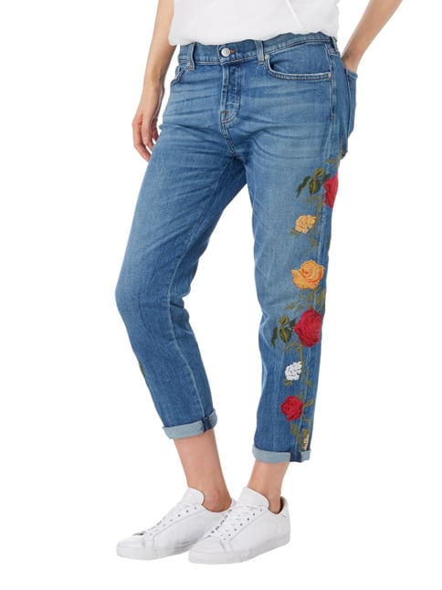 7 for all mankind Boyfriend Fit Jeans mit floralen Stickereien Jeans - 1