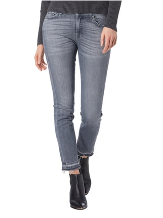7 for all mankind Cropped Jeans im Used Look Mittelgrau - 1