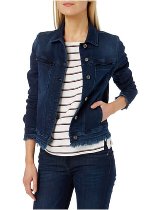 7 for all mankind Jeansjacke mit Fransen Dunkelblau - 1