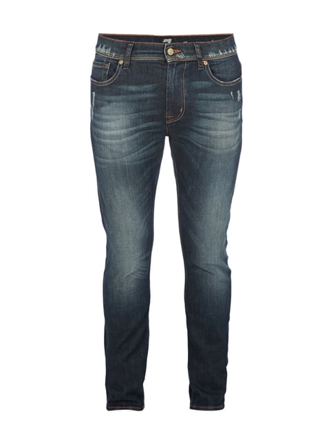 Used Look Straight Fit 5-Pocket-Jeans Blau / Türkis - 1