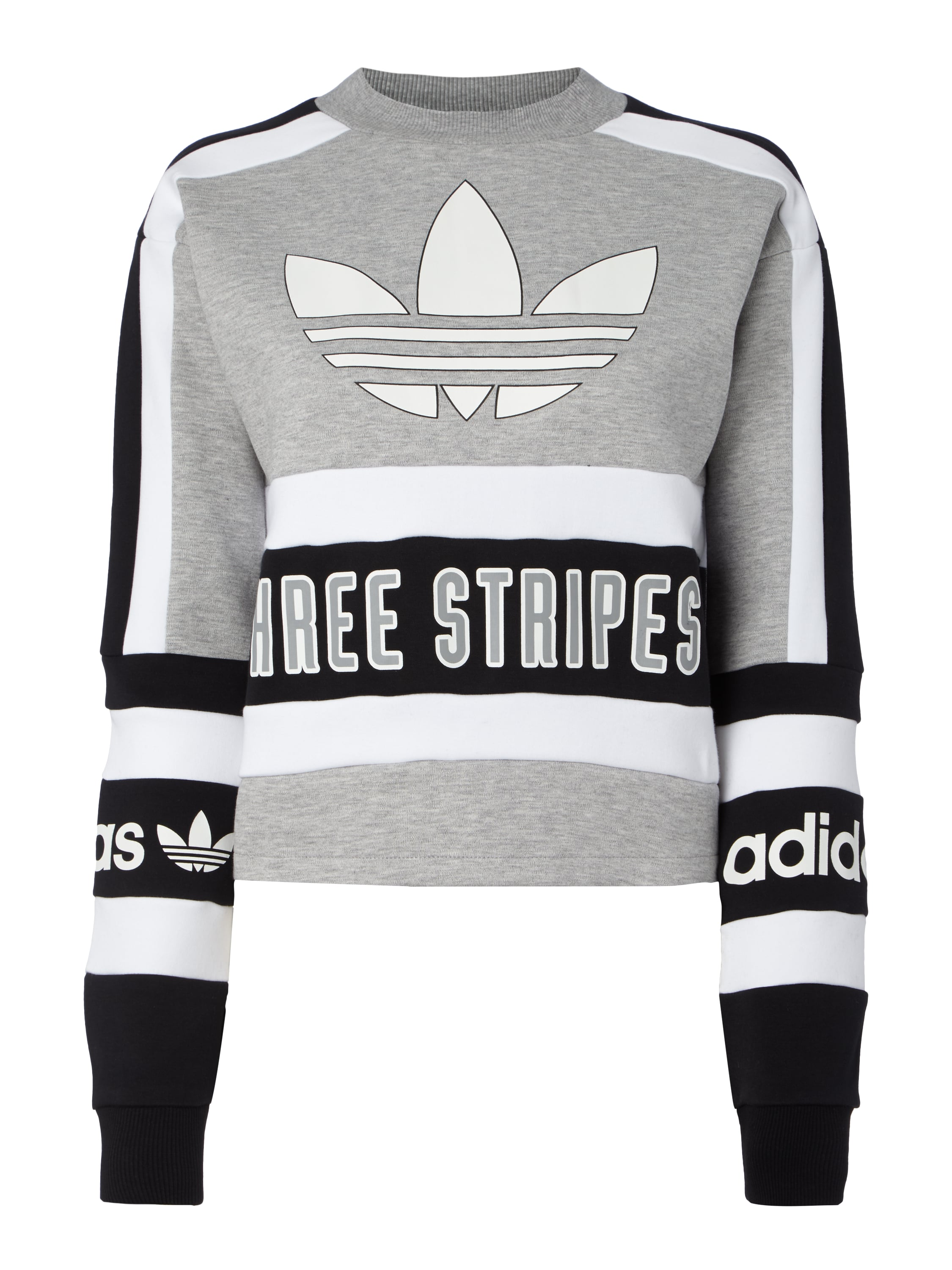 adidas originals cropped sweatshirt mit zierstreifen in. Black Bedroom Furniture Sets. Home Design Ideas